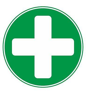2 X Erste Hilfe Kreis Klein Selbstklebende Sticker Sicherheit Zeichen Business ()