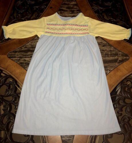 Vintage Toddler Girls Night Gown Prairie Long Sleeve Soft Acetate 1980s Sz 2