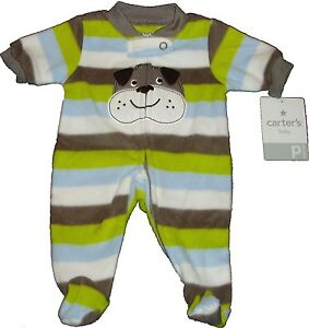 BABY BOYS CARTERS FLEECE SLEEP PLAY OUTFIT CLOSED IN FEET EASY ENTRY FOOTED