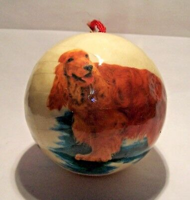 COCKER SPANIEL IRISH SETTER Puppy Dog Paper Mache Christmas Ball ORNAMENT