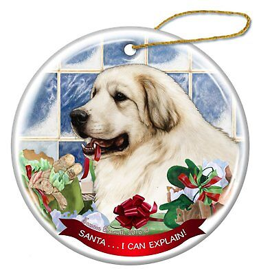 Great Pyrenees Dog Porcelain Hanging Ornament Pet Gift 'Santa.. I Can (Great Pyrenees Porcelain)