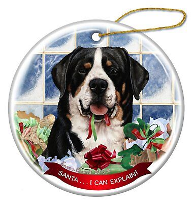 Greater Swiss Mountain Dog Porcelain Ornament Pet Gift Santa I Can -