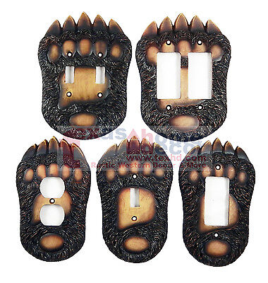 Decor Double Switchplate Cover (Bear Switch Plate Covers Claw Paw Cabin Lodge Decor Outlet Rockers Double)