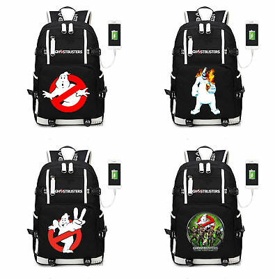 Ghostbusters Backpack Kids Schoolbag Men Travel Laptop Bag With USB charging[12] - Ghost Busters Backpack