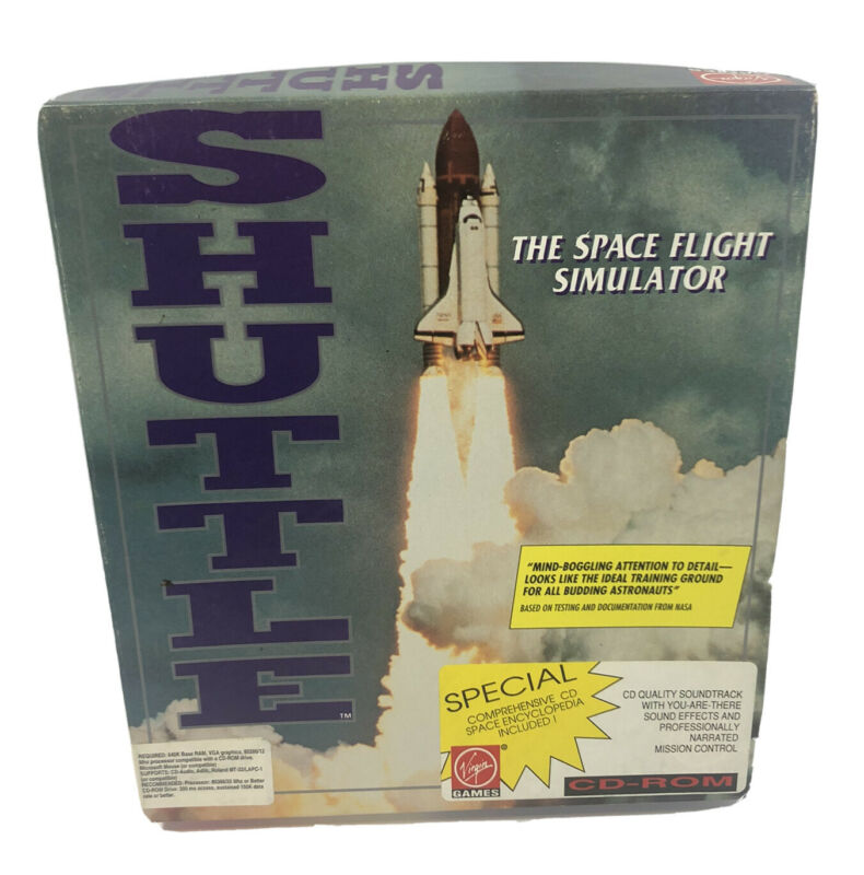 Space Shuttle Flight Simulator - Virgin Game for PC - CD-ROM w/ Poster