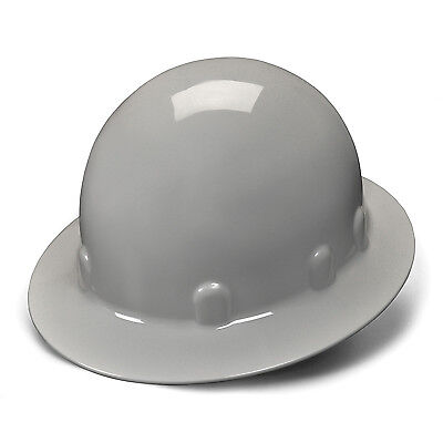 Pyramex Hard Hat Gray SLEEK FULL BRIM With 4 Point Ratchet Suspension, HPS24112