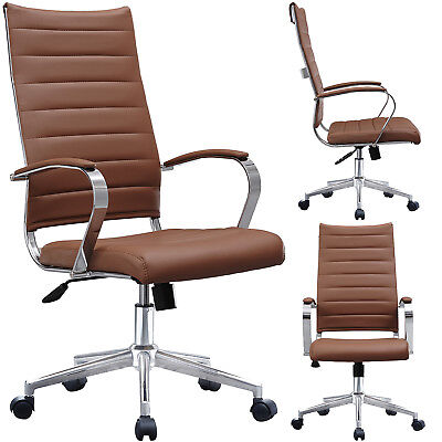 Ribbed Leather Adjustable Cushion Office Chair High Back Computer Desk Seat
