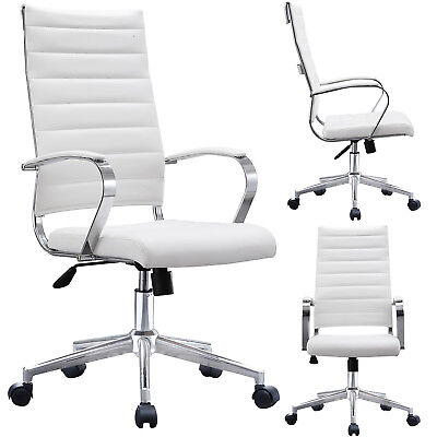 High Back Computer Desk Seat Adjustable Ribbed Leather Cushion Office Chair