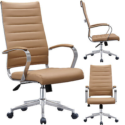 Adjustable Ribbed Leather Cushion Office Chair High Back Computer Desk Seat