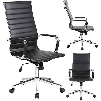 Black Modern Ergonomic Ribbed High Back Computer Desk Office Luxury Chair