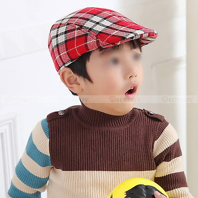 New Boys Kids Child Beret Flat Cap Houndstooth Plaid Newsboy Hat Baby Hat (Kids Newsboy Hat)