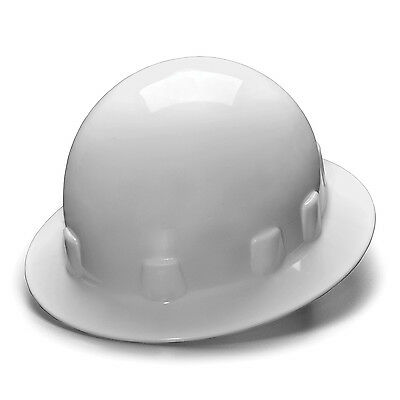 Pyramex Hard Hat White Sleek Full Brim With 4 Point Ratchet Suspension Hps24110