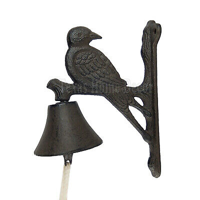 Bird Dinner Bell Cast Iron Wall Mounted Antique Style Rustic Finish