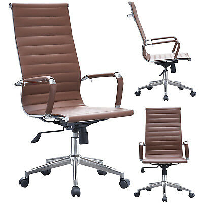 High-back Modern Ribbed Upholstered Pu Leather Adjustable Office Chair Desk Seat