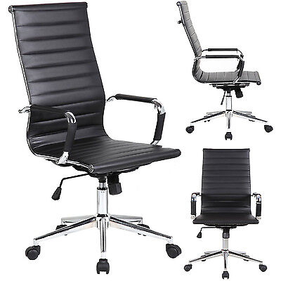 Modern High-back Ribbed Upholstered Pu Leather Adjustable Office Chair Desk Seat