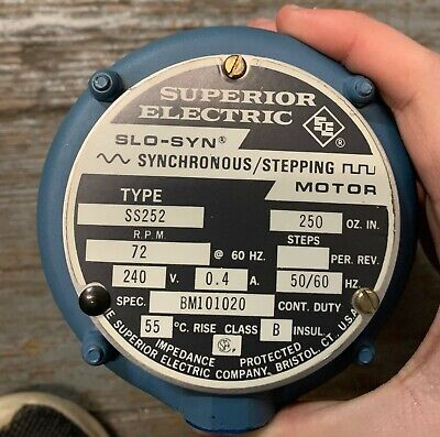 Superior Electric Slo-syn Ss252 Synchronous Stepping Motor 72rpm 240v New