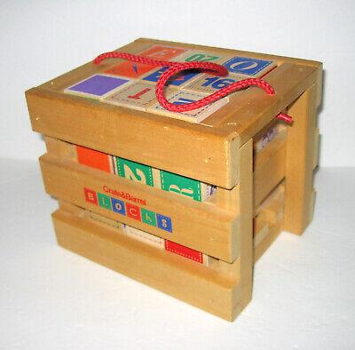 "CRATE & BARREL 27 Wood Wooden ABC & Number Blocks 1 3/4"""