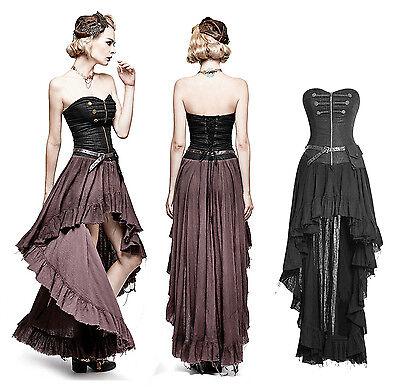 Punk Rave Steampunk Gothic Kleid Dress Military Korsett Schnürung Rüschen Q311 (Schwarze Steampunk Kleid)