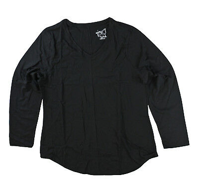 Just My Size JMS Plus Women Long Sleeve V Neck T Shirt Ebony Black 5X (Ebony Womens Shirt)