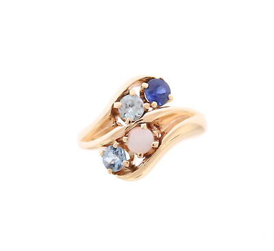10K YELLOW GOLD MULTI STONE RING BLUE SAPPHIRE - OPAL - BLUE TOPAZ - -