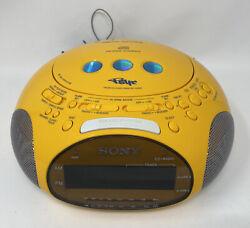 Sony Dream Machine Psyc ICF-CD831 CD Alarm Clock Radio Yellow Tested Working