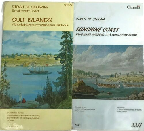 Vtg STRAIT OF GEORGIA Canada NAUTICAL MAP Lot SMALL CRAFT Chart VANCOUVER BC