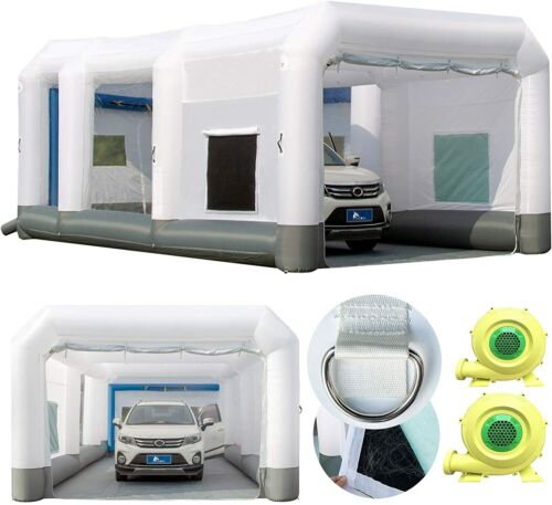 Inflatable Spray Paint Booth 26x15x10Ft Car Portable Tent & UL 950W+750W Blowers