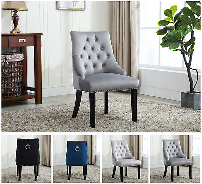 MCC® Tufted Velvet Fabric Studded Dining Chair Upholestered Accent Side Chair