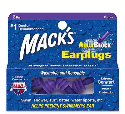Mack's AquaBlock Earplugs, 2 Pair, Waterproof, Ear Plugs for Water, 4 Pack