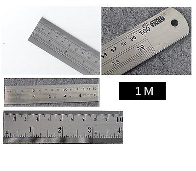 "LARGE ONE METRE RULER 1M LONG METAL Stainless Steel 40"" MEASURE Rule/Meter 100cm"