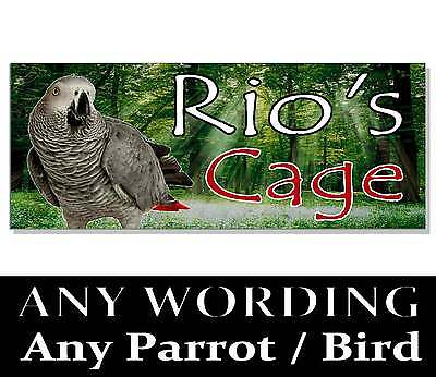 Personalised Parrot African grey Amazon macaw SIGN Plaque AVIARY cage bird house