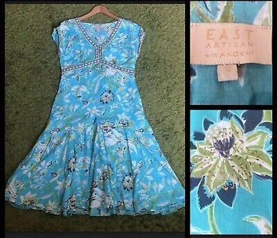EAST ARTISAN With ANOKHI : Vintage Indian Hand Block Print Floral Dress UK 12