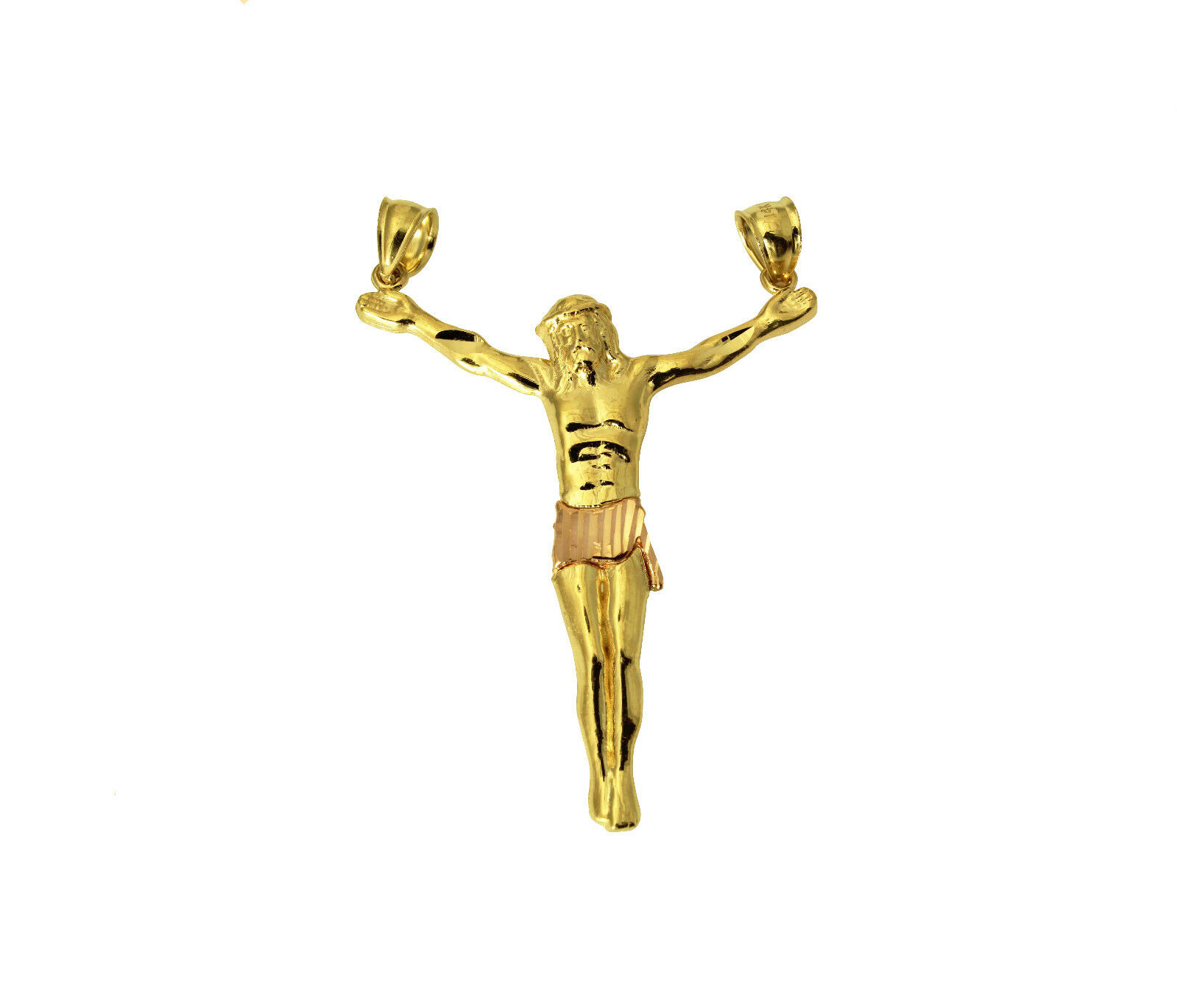K two tone gold jesus body crucifix cross charm pendant