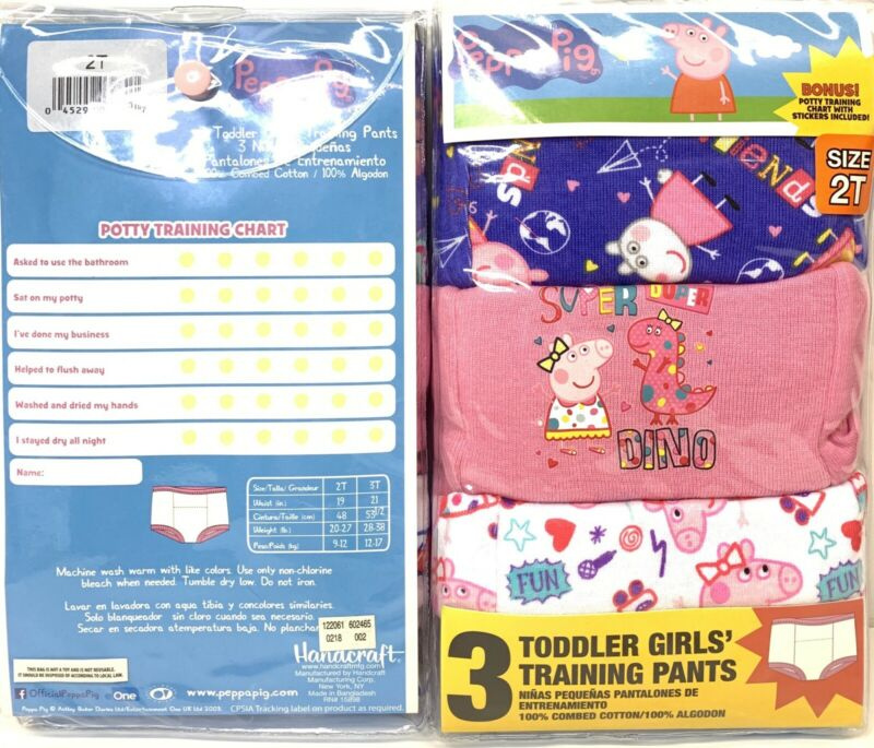 3 Pack-Peppa Pig-Toddler-Girls-Training Pants-Cotton-Lined-Size 2T-Underwear-#1