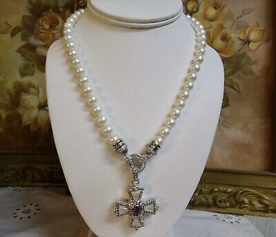 """""""JUDITH RIPKA"""" STERLING AMETHYST & MOTHER OF PEARL ENHANCER W/18"""" PEARL NECKLACE"""