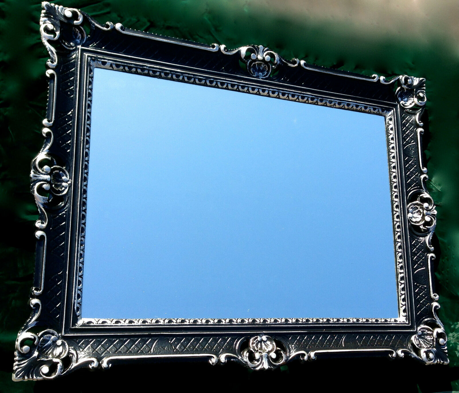 wandspiegel barock rechteckig spiegel antik wanddeko schwarz silber 90x70cm eur 89 00. Black Bedroom Furniture Sets. Home Design Ideas