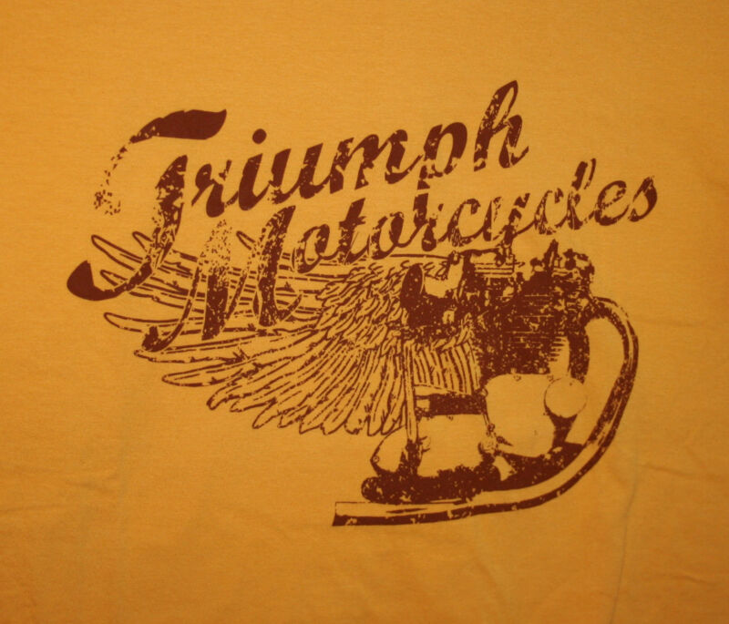 Official Retro Triumph Motorcycles Racing Burnt Yellow T-Shirt New XXL