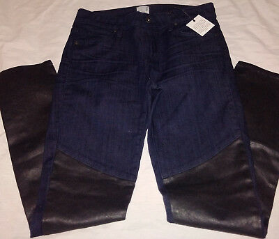 Rich & Skinny Faux Leather Blue Jeans, Two Fold Skinny Jeans