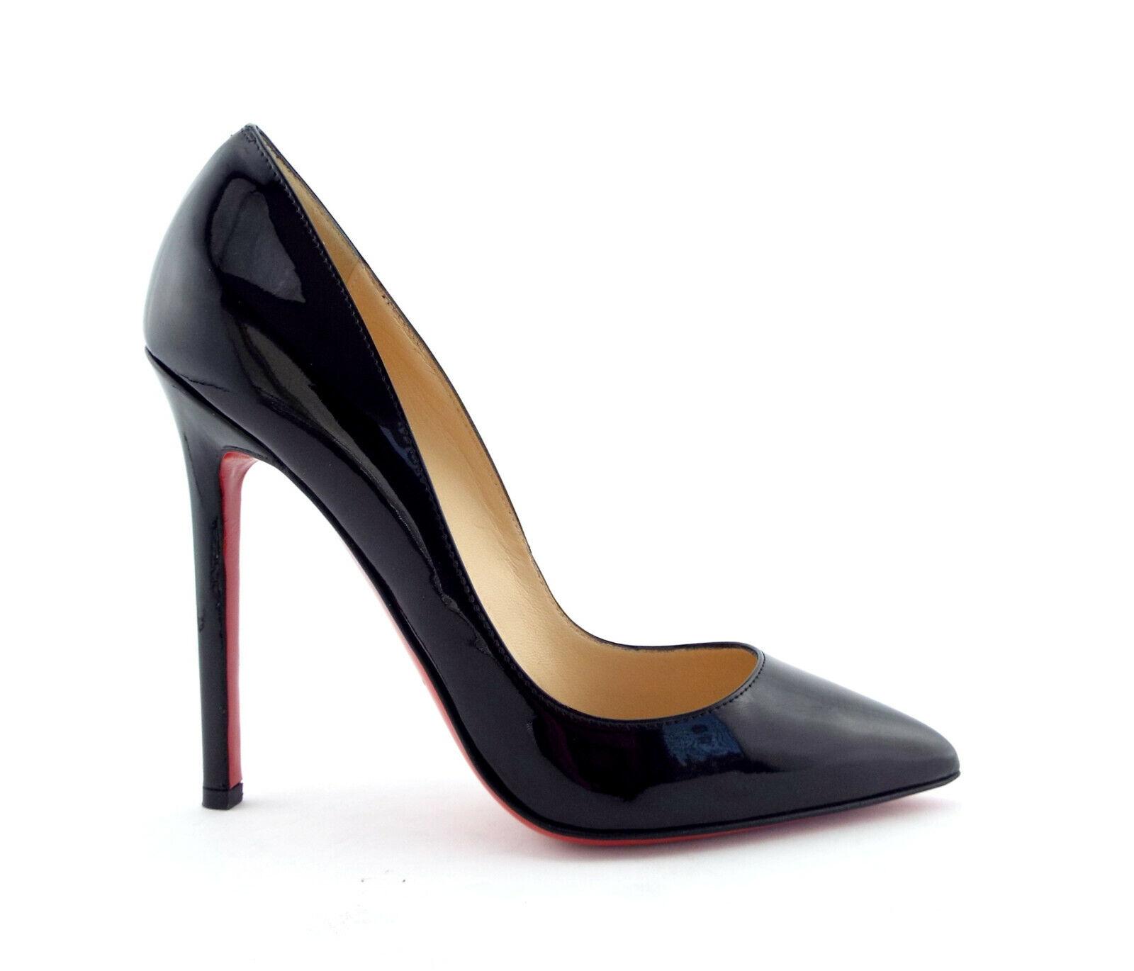 New CHRISTIAN LOUBOUTIN Size 5 PIGALLE Black Patent Heels Pumps Shoes 35