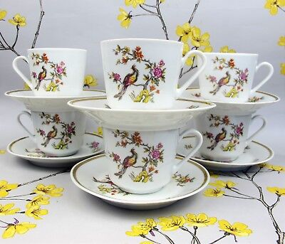 Vintage KAHLA china Exotic Bird of Paradise TEA SET for 6. Cups saucers. Germany