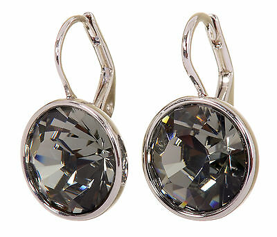 (Swarovski Elements Crystal Black Diamond Bella Pierced Earrings Rhodium 7171z)