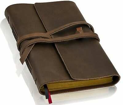 Leather Journal Lined Paper 5x7in - Handmade Leather Bound W