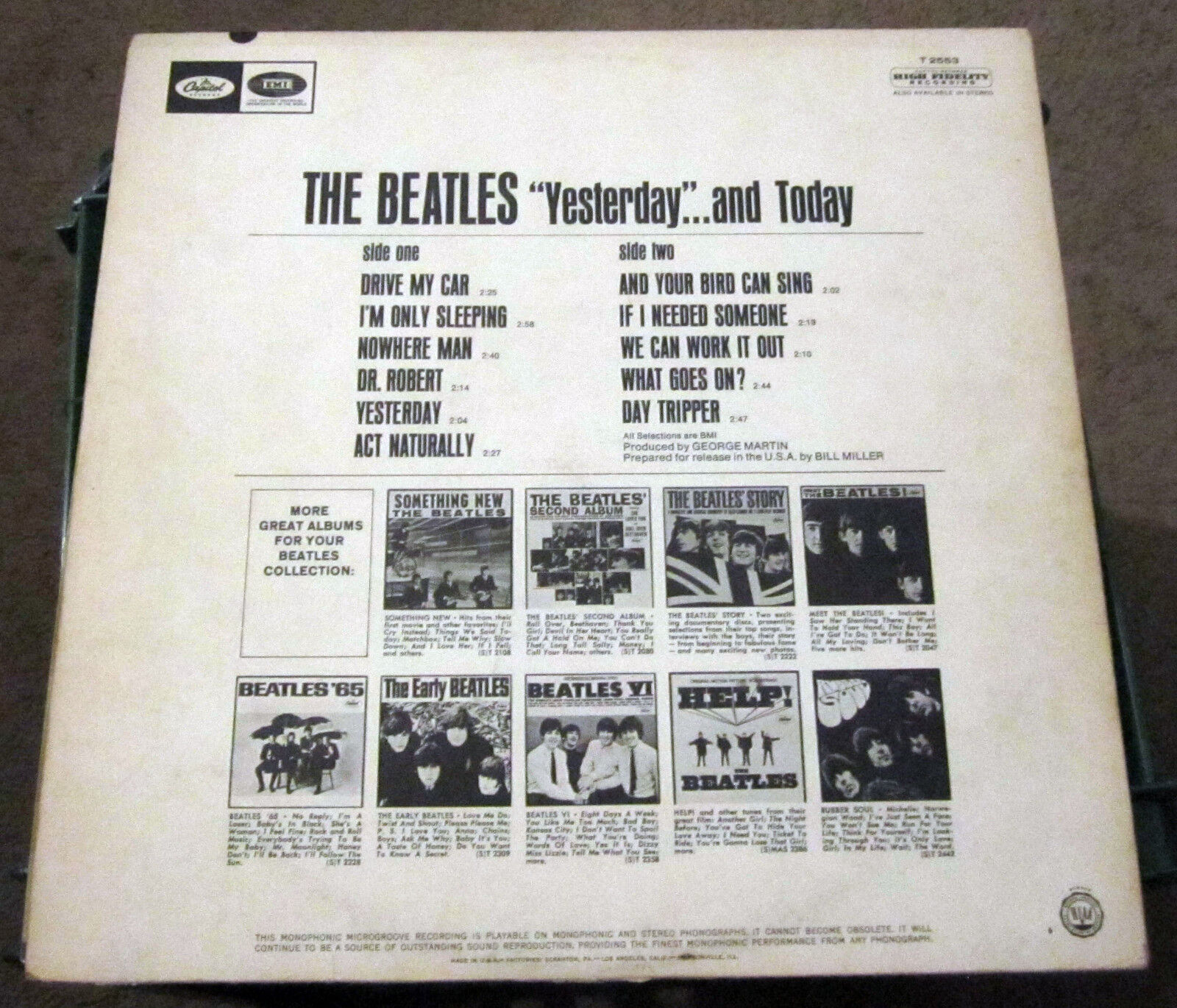 """Original 1966 The Beatles """"Yesterday and Today"""" Mono on Capital Rainbow label NM"""