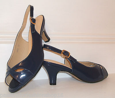 BNWB SIZE 3 4 5 6 7 8 NAVY BLUE PATENT LOW MID HEEL COMFY SLINGBACK COURT SHOES Patent 3 3/4