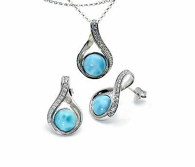 Larimar 8mm 100% Natural W/Topaz Accent Earrings Necklace Set Sterling Silver