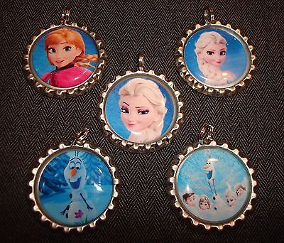 Bottle Cap Charm Images (Bottle Cap Charms with Rings Epoxy Sealed Images Frozen Ice Movie Elsa Anna)