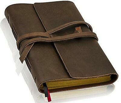 Handmade Leather Journal with Lined Paper - Travel Notebook by ThoughtSpace