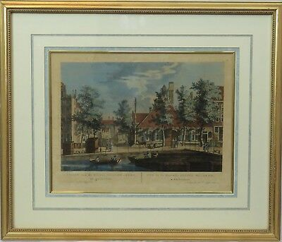 FINELY FRAMED H. SCHOUTE RARE 18TH CENTURY ENGRAVING HAND COLORED AMSTERDAM