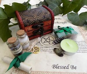 Wealth Spell Kit Chest Perfect Gift Pagan Wicca Witch  Money in a Wooden Box