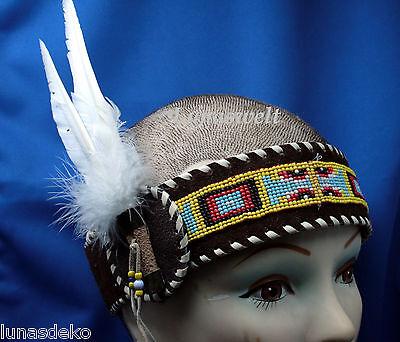Indianer Feder Stirnband aus Leder mit Perlenmandala